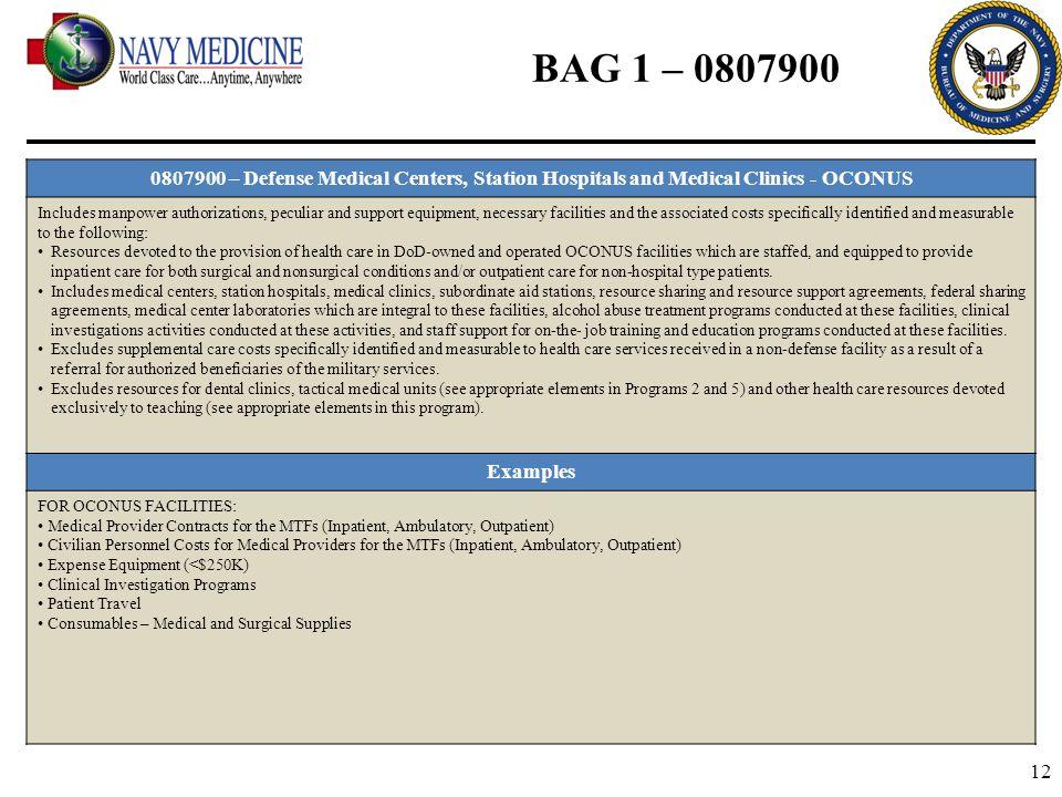 BAG 1 – 0807900 0807900 – Defense Medical Centers, Station Hospitals and Medical Clinics - OCONUS.