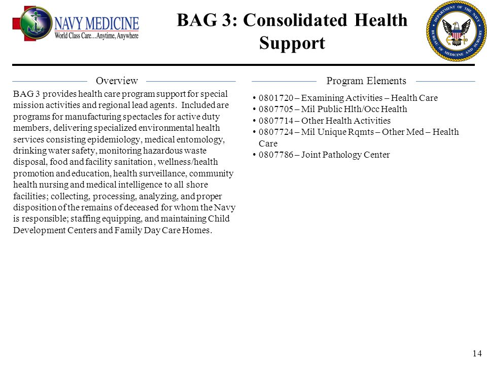 BAG 3: Consolidated Health Support