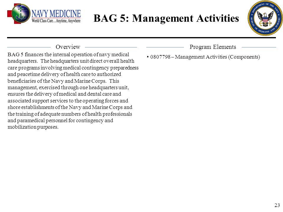 BAG 5: Management Activities