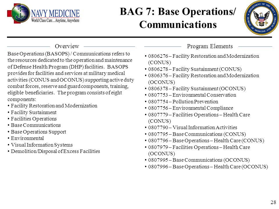 BAG 7: Base Operations/ Communications