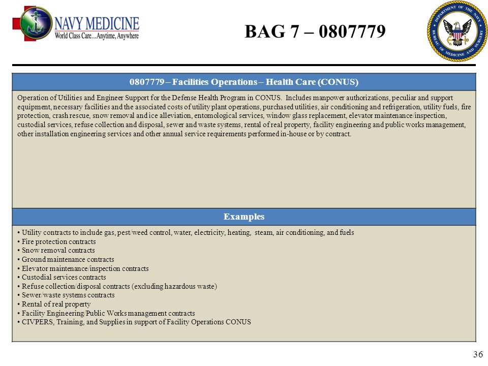 0807779 – Facilities Operations – Health Care (CONUS)