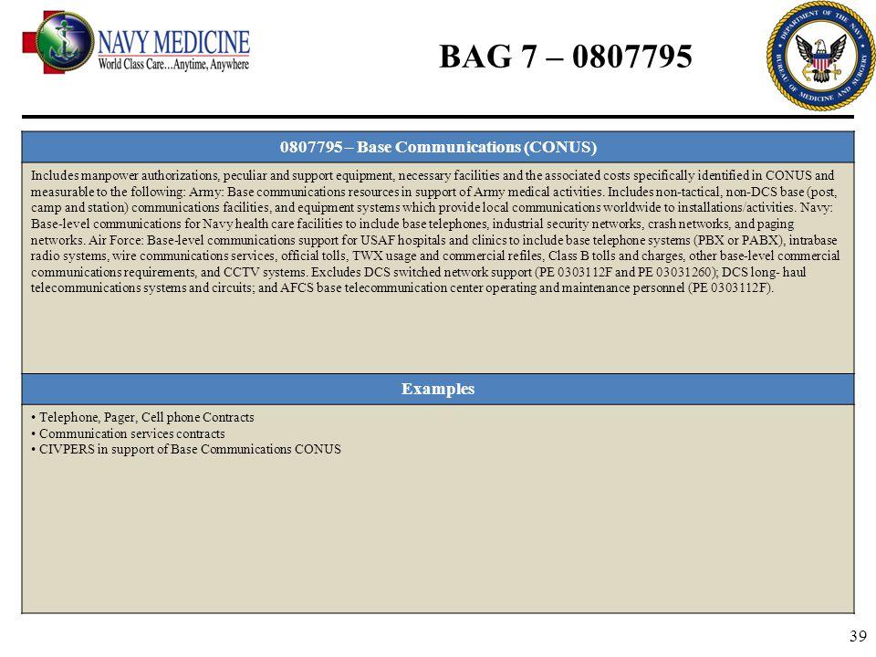 0807795 – Base Communications (CONUS)