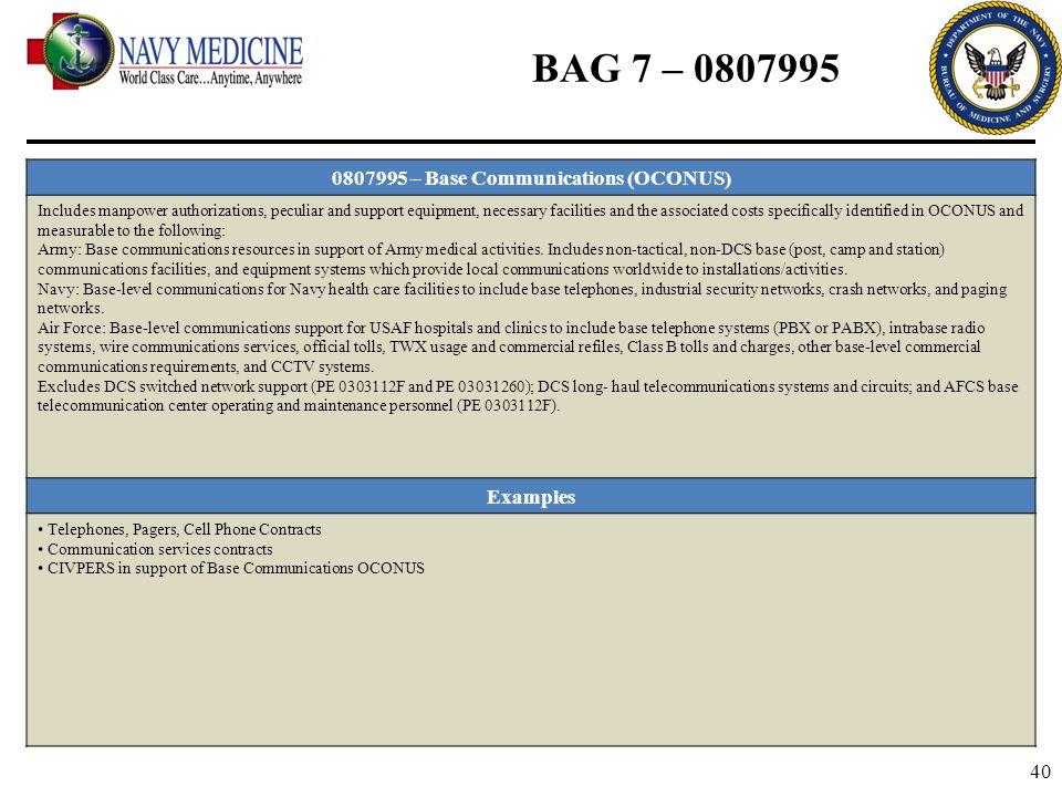 0807995 – Base Communications (OCONUS)