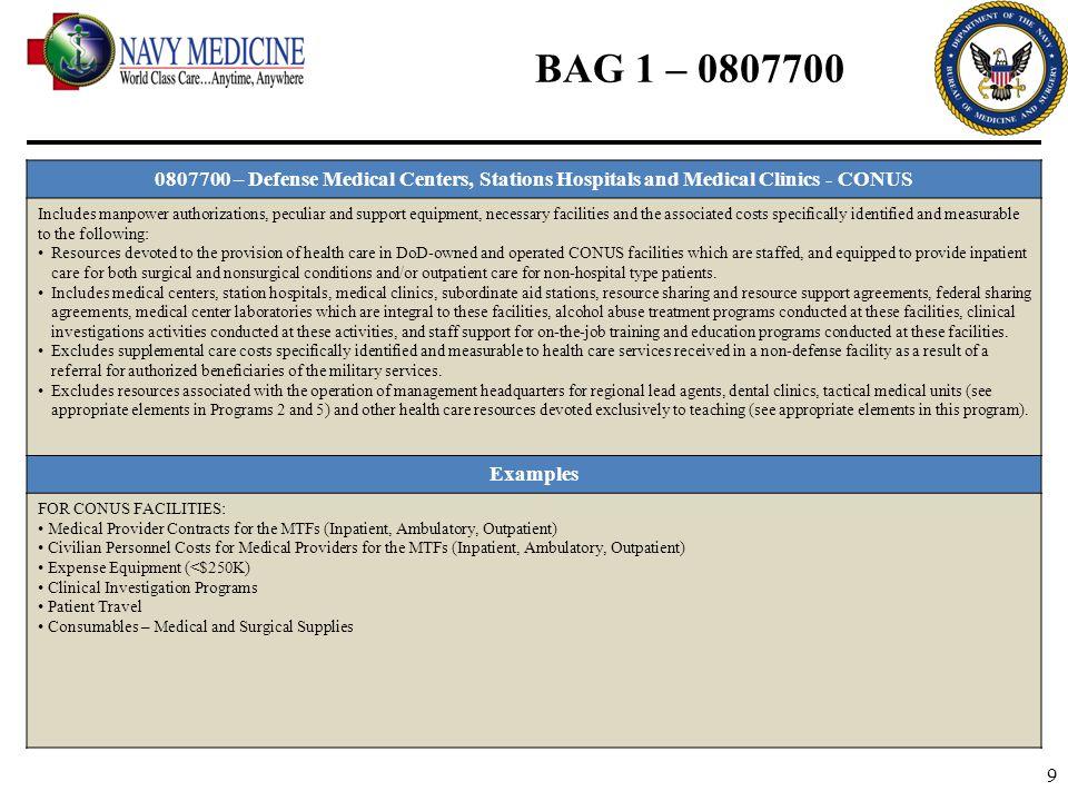 BAG 1 – 0807700 0807700 – Defense Medical Centers, Stations Hospitals and Medical Clinics - CONUS.