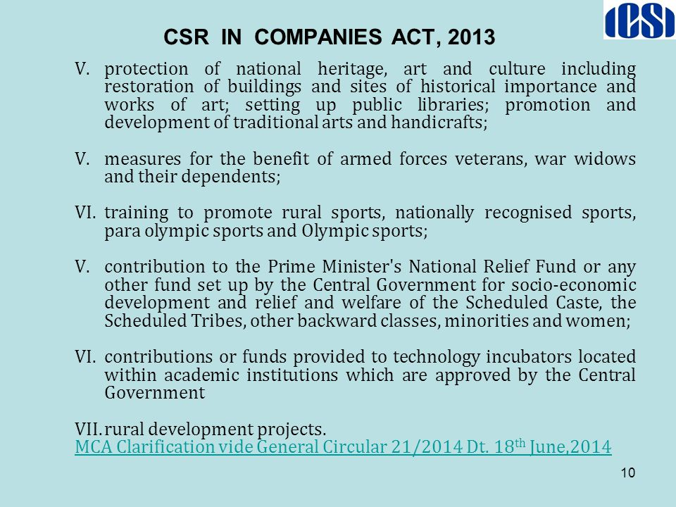 CSR IN COMPANIES ACT, 2013