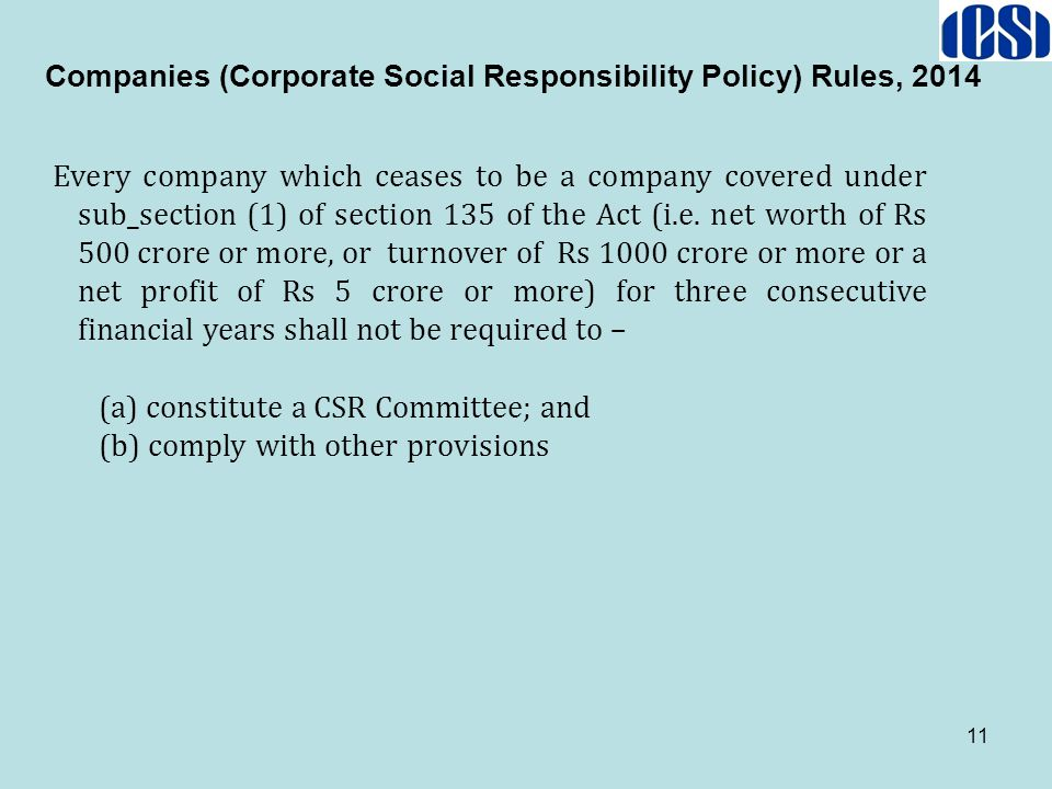 Companies (Corporate Social Responsibility Policy) Rules, 2014