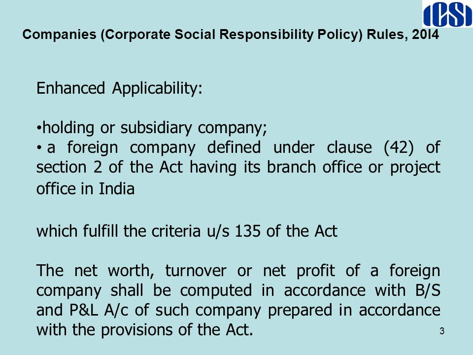 Companies (Corporate Social Responsibility Policy) Rules, 20I4