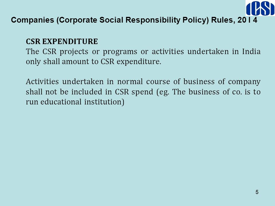 Companies (Corporate Social Responsibility Policy) Rules, 20 I 4