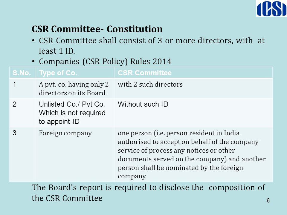 CSR Committee- Constitution