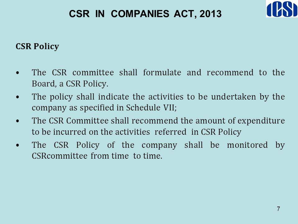 CSR IN COMPANIES ACT, 2013 CSR Policy
