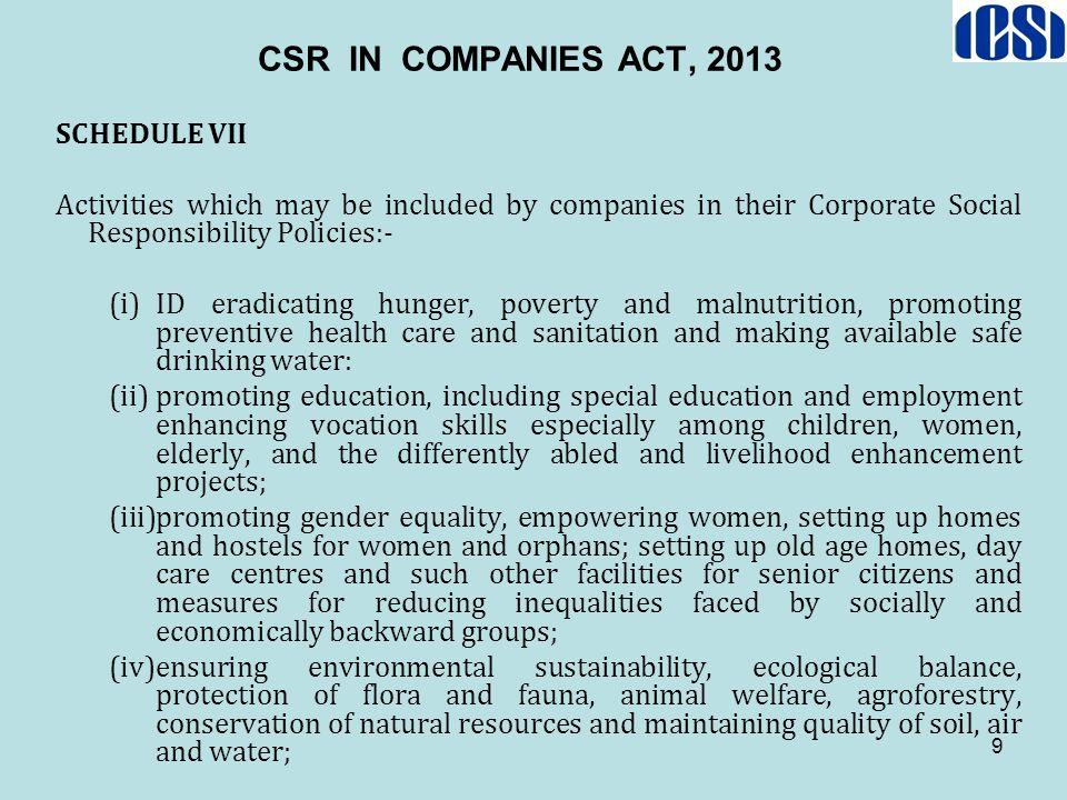 CSR IN COMPANIES ACT, 2013 SCHEDULE VII