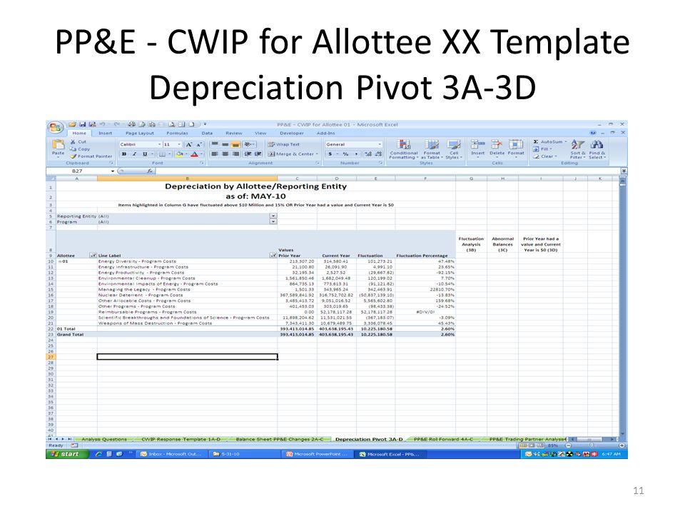 PP&E - CWIP for Allottee XX Template Depreciation Pivot 3A-3D