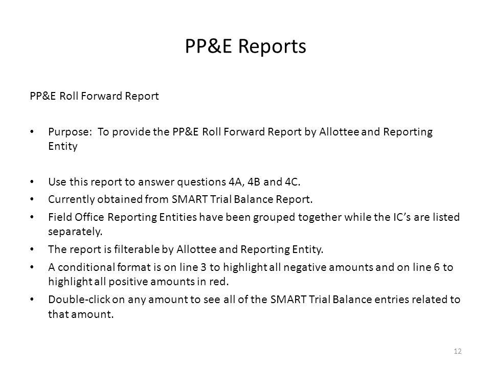 PP&E Reports PP&E Roll Forward Report