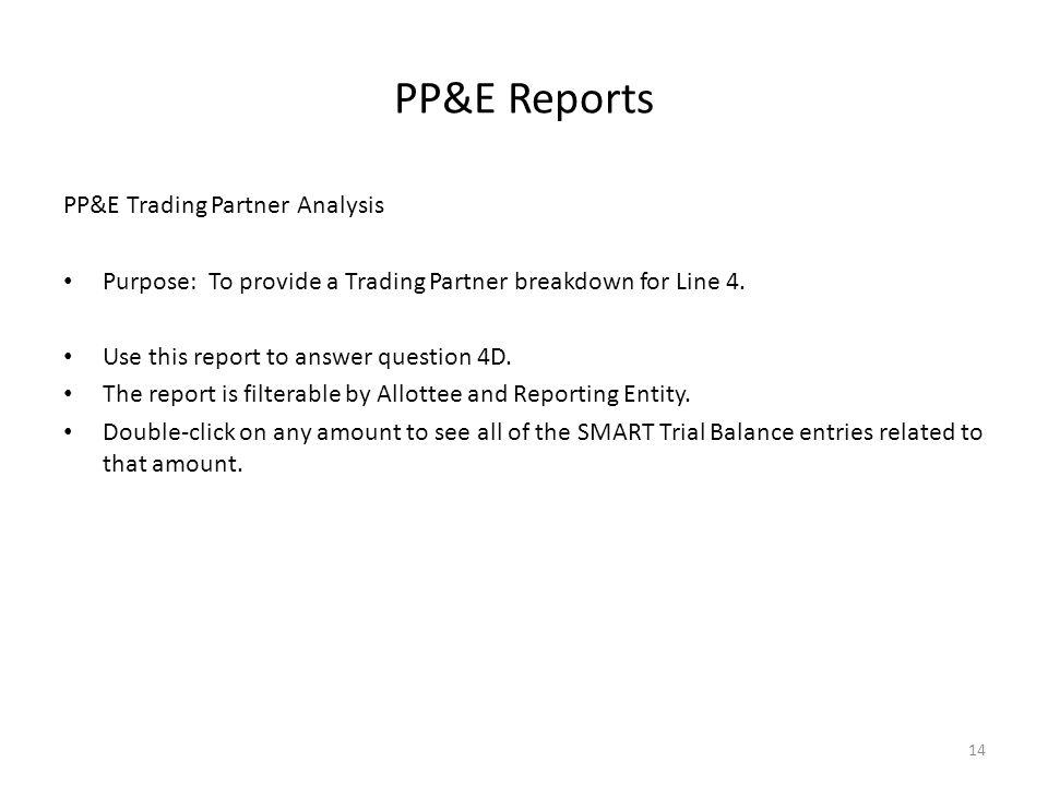 PP&E Reports PP&E Trading Partner Analysis