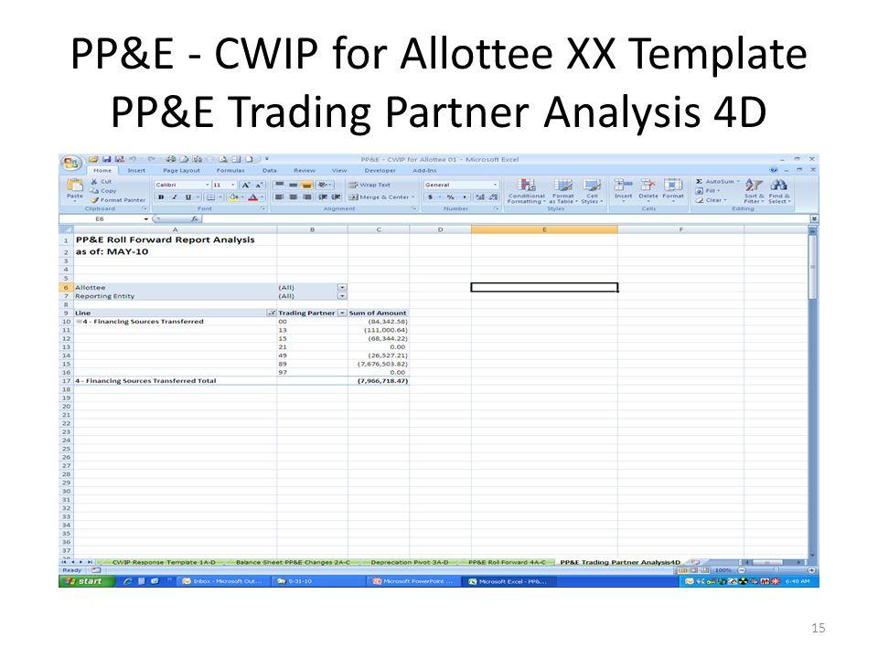 PP&E - CWIP for Allottee XX Template PP&E Trading Partner Analysis 4D