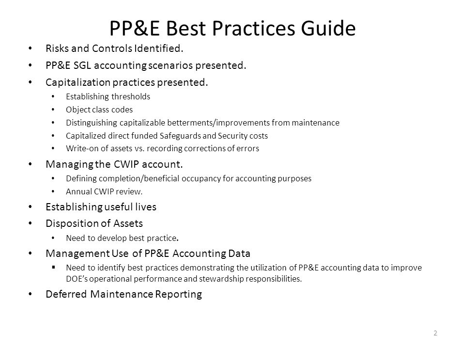 PP&E Best Practices Guide