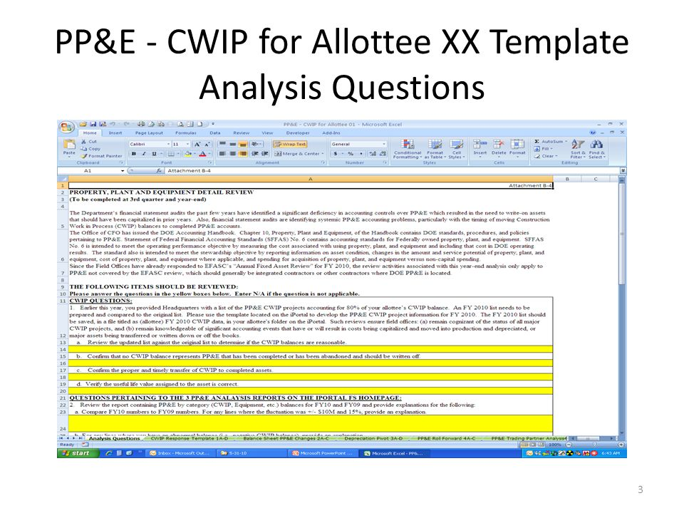 PP&E - CWIP for Allottee XX Template Analysis Questions