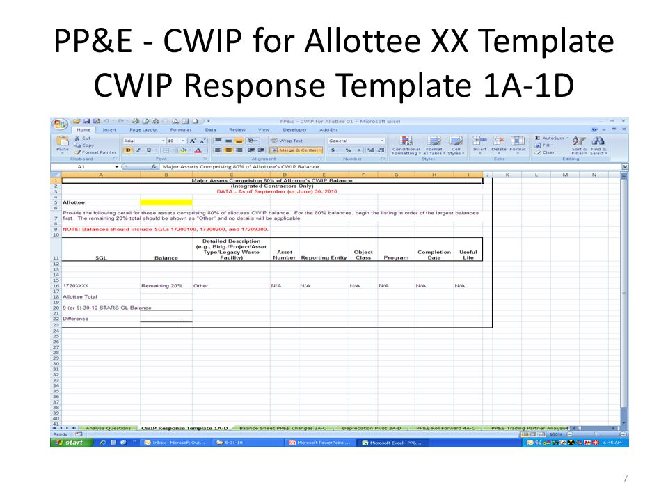 PP&E - CWIP for Allottee XX Template CWIP Response Template 1A-1D