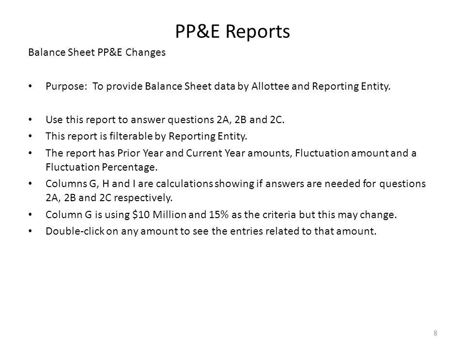 PP&E Reports Balance Sheet PP&E Changes