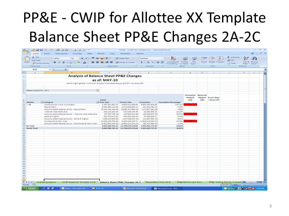 PP&E - CWIP for Allottee XX Template Balance Sheet PP&E Changes 2A-2C