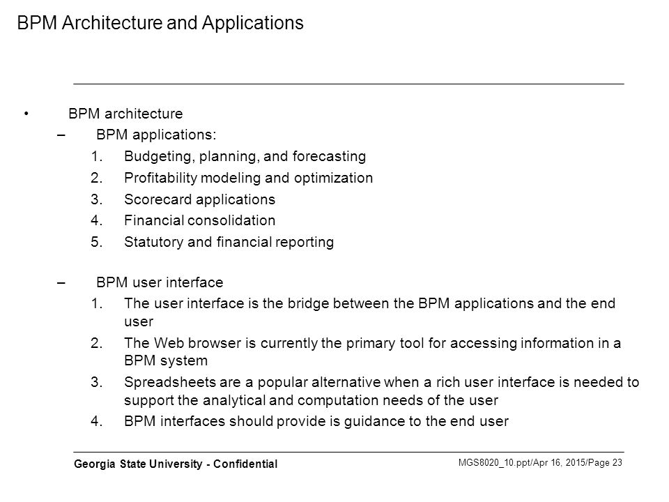 BPM Architecture and Applications