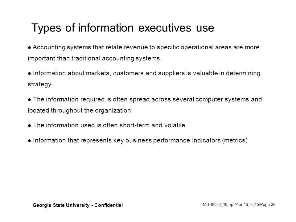 Types of information executives use