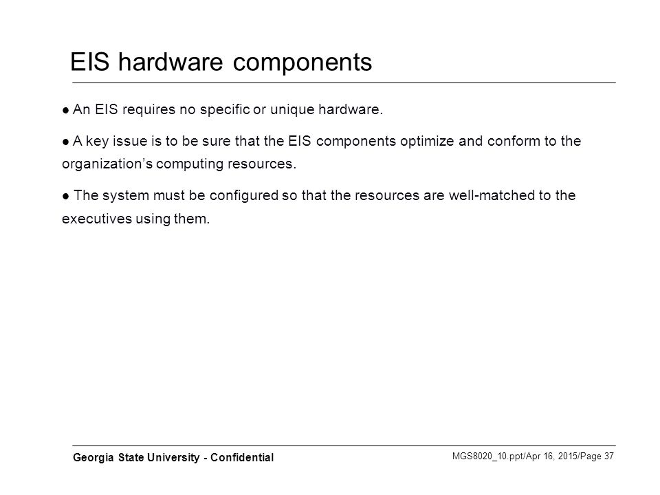 EIS hardware components