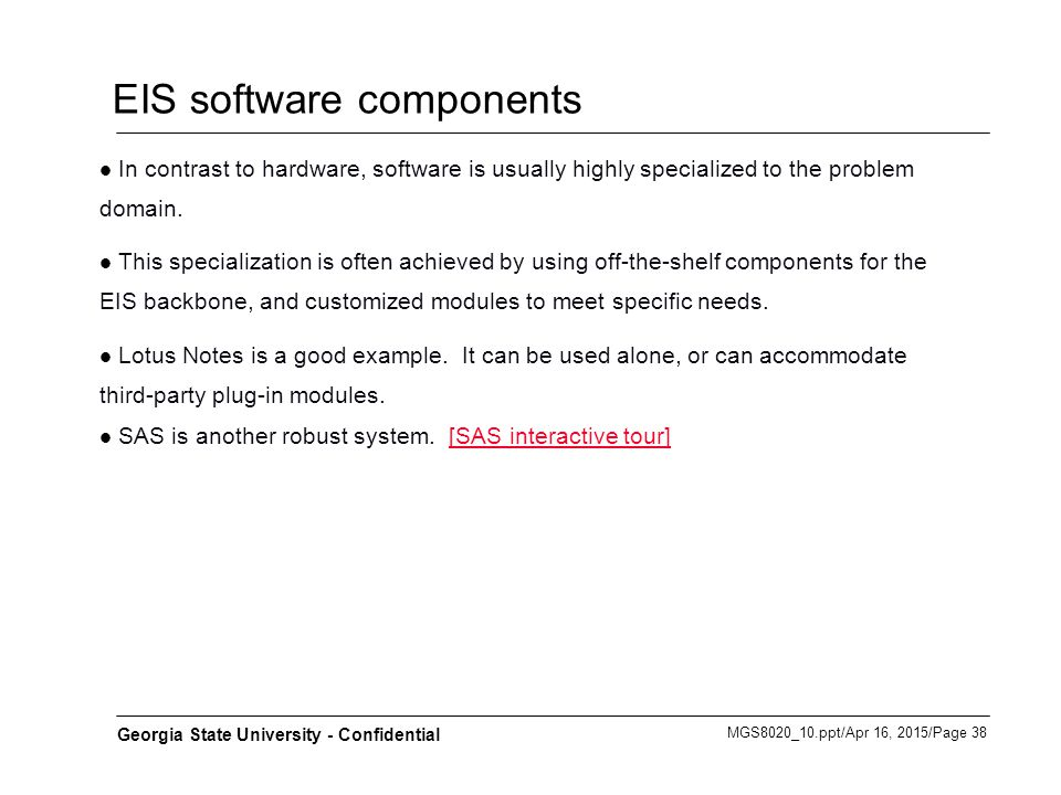 EIS software components