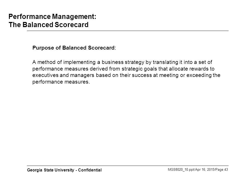 Performance Management: The Balanced Scorecard