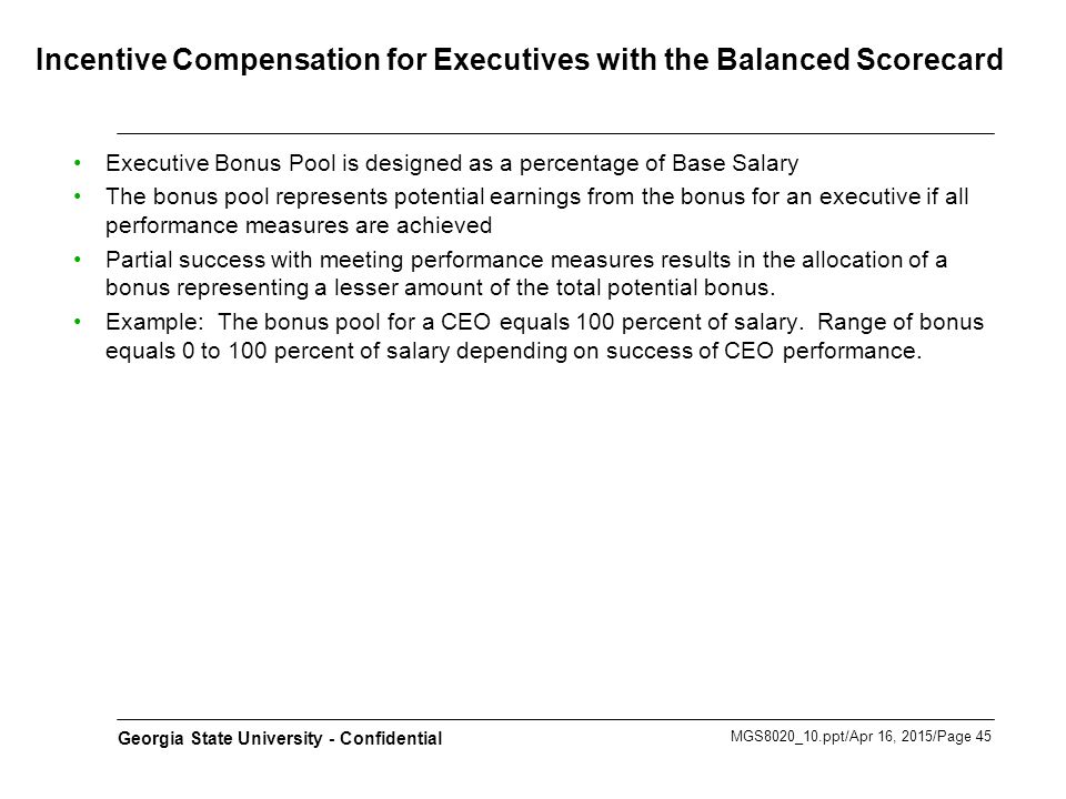 Incentive Compensation for Executives with the Balanced Scorecard