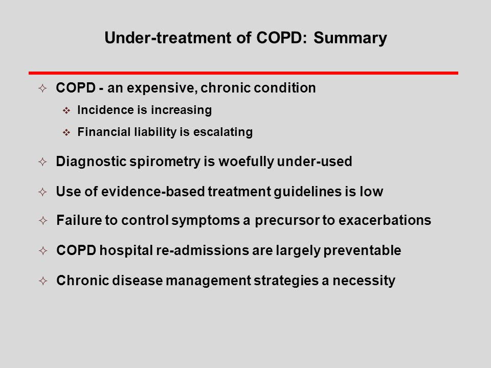 Under-treatment of COPD: Summary