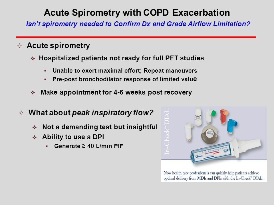 Acute Spirometry with COPD Exacerbation Isn't spirometry needed to Confirm Dx and Grade Airflow Limitation