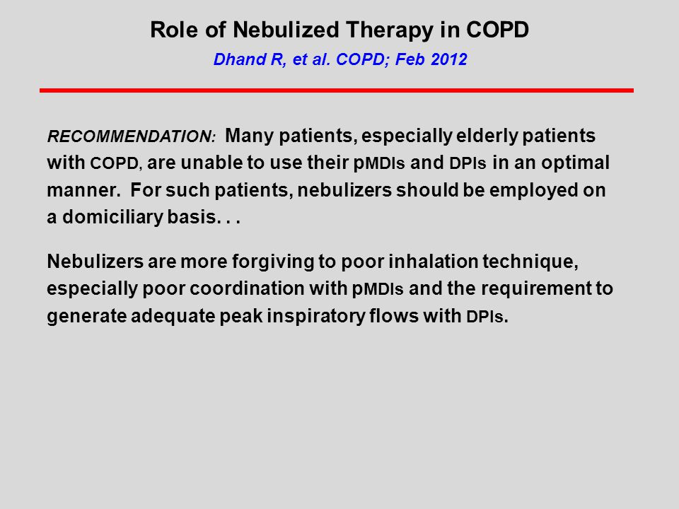 Role of Nebulized Therapy in COPD Dhand R, et al. COPD; Feb 2012