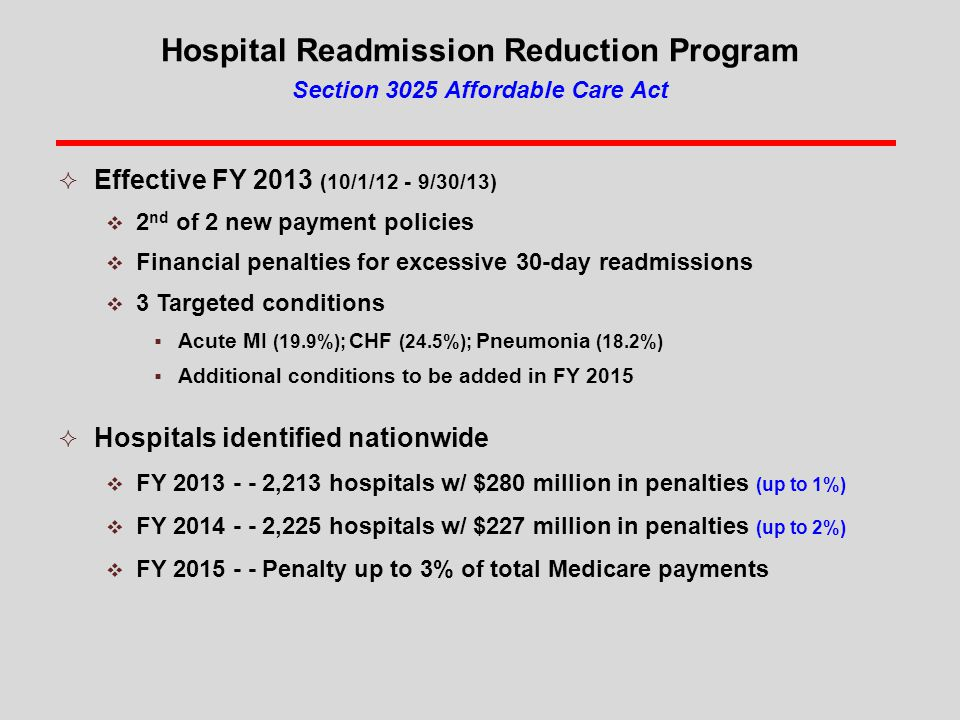Hospital Readmission Reduction Program Section 3025 Affordable Care Act