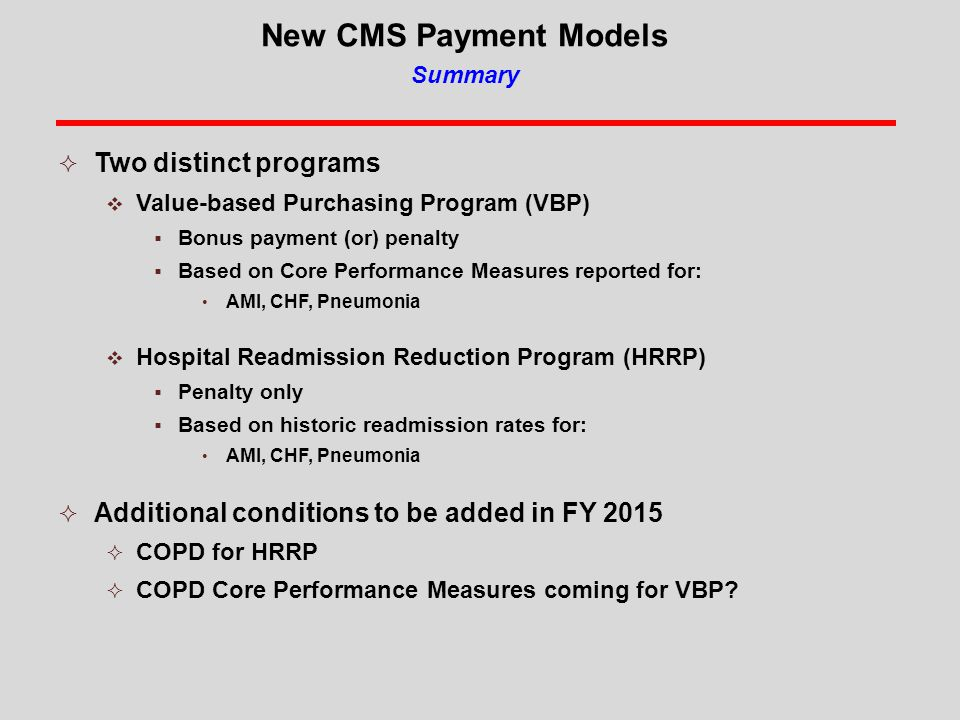 New CMS Payment Models Summary