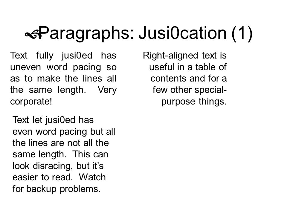 Paragraphs: Jusi0cation (1)