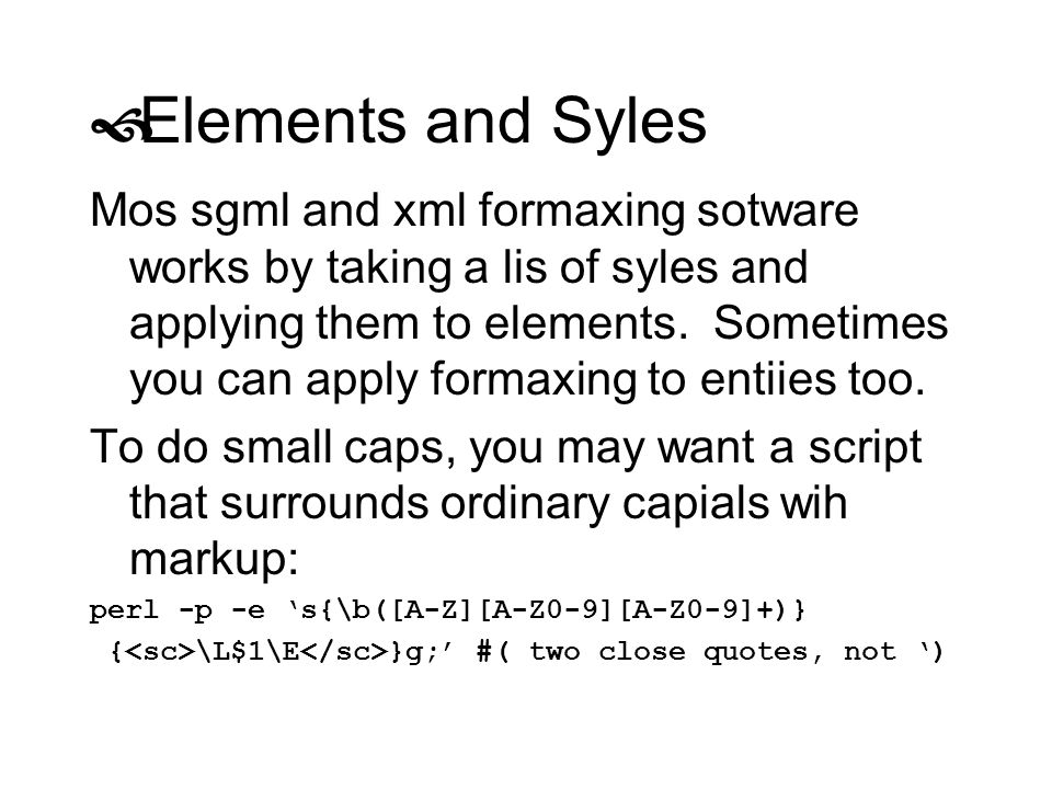 Elements and Syles