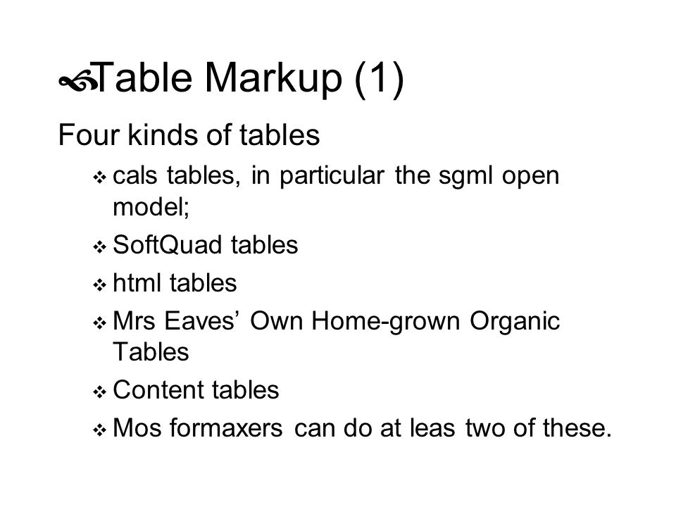 Table Markup (1) Four kinds of tables
