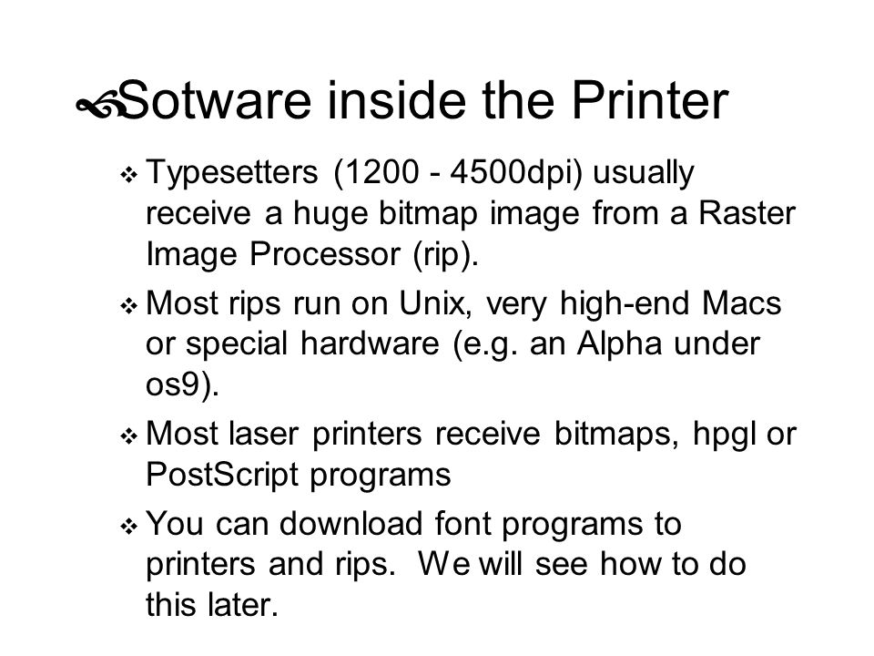 Sotware inside the Printer