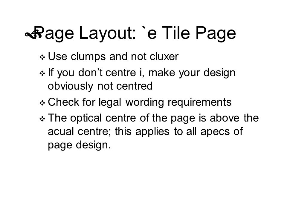 Page Layout: `e Tile Page