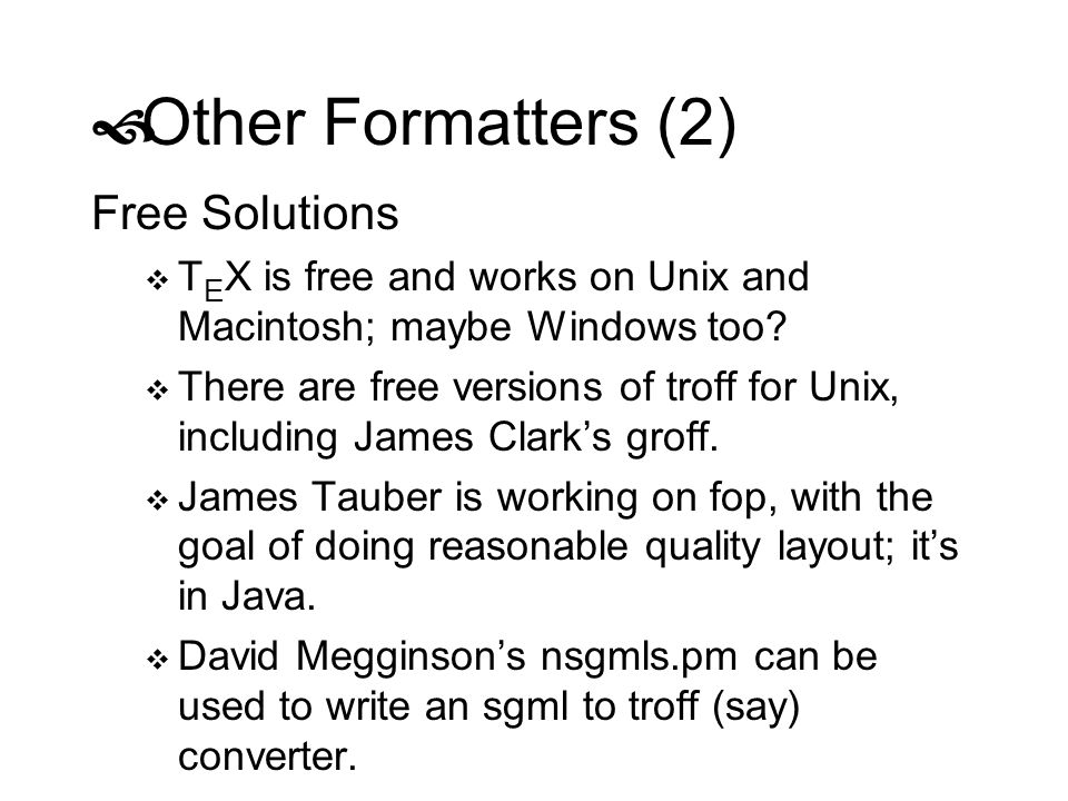 Other Formatters (2) Free Solutions