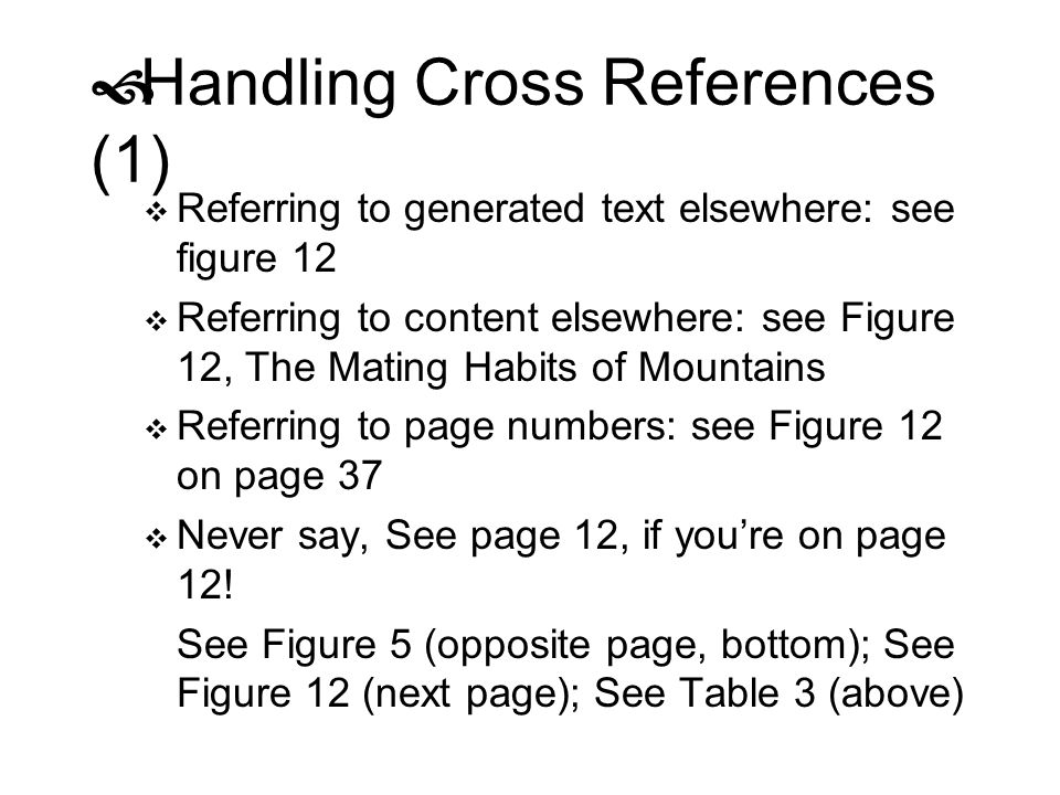 Handling Cross References (1)