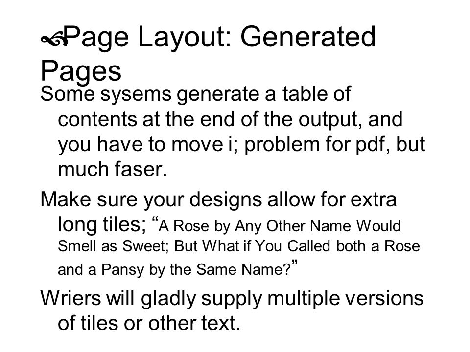 Page Layout: Generated Pages