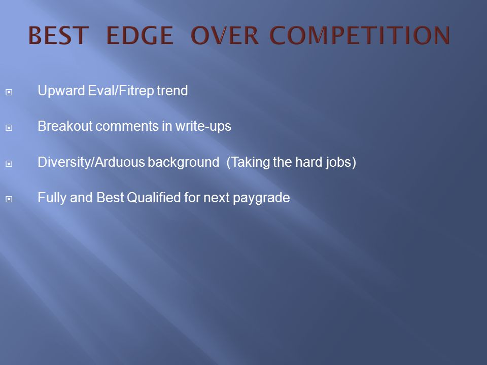 BEST EDGE OVER COMPETITION
