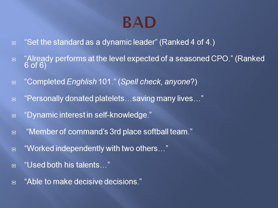 BAD Set the standard as a dynamic leader (Ranked 4 of 4.)