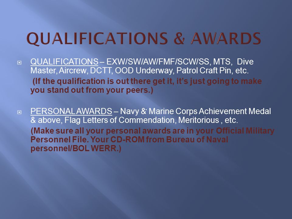QUALIFICATIONS & AWARDS