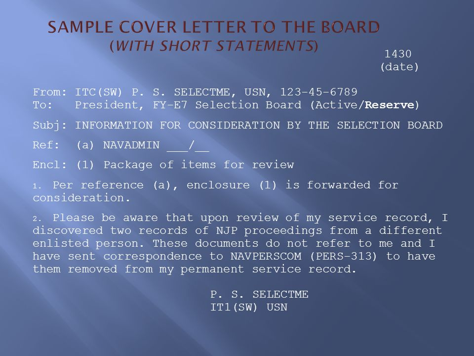 SAMPLE COVER LETTER TO THE BOARD (WITH SHORT STATEMENTS)