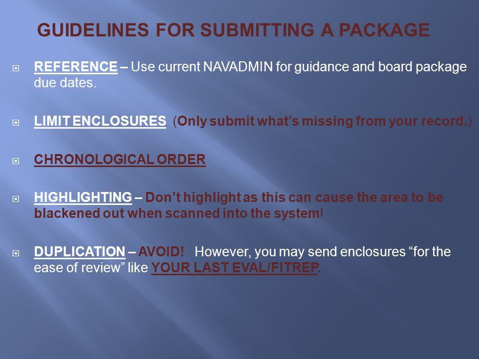 GUIDELINES FOR SUBMITTING A PACKAGE