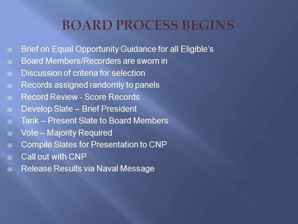 BOARD PROCESS BEGINS Brief on Equal Opportunity Guidance for all Eligible's. Board Members/Recorders are sworn in.
