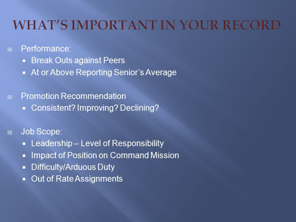 WHAT'S IMPORTANT IN YOUR RECORD